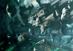 No visual records are available of the Shard of Damnation, but this artists' rendering of a similarly named hulk, the Sin of Damnation, is representative of a space hulk's surface.