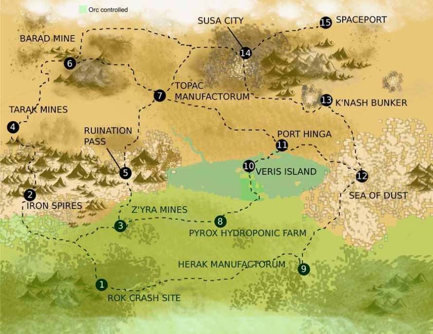 Map of Hegira, with ork-controlled areas highlighted in green.