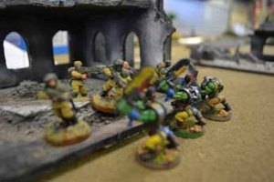 Alpha Squad faces what's left of the ork attack.