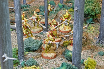 The infamous Kroot, the flesh-eating Tau auxiliary troops, advance through the forest just prior to being ambushed by Lt. Oriel Drustan of the 23nd Pradeep Militia. Over the course of the campaign, the Kroot would inspire horror and outrage with their feeding on civilian wounded and dead.