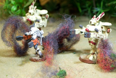 The Tau commander at the forefront of his troops--only seconds before he is incinerated by a direct hit from a battle cannon