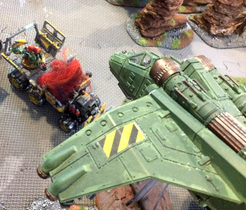 A Valkyrie squadron strafed the ork lines repeatedly, causing massive casualties. Unfortunately, the numbers of ork warriors were greater than the firepower unleashed by Imperial forces.