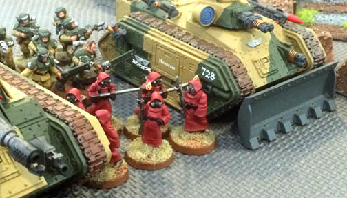 Special weapons squads, equipped with flamers, proved highly effective against the ork hordes.